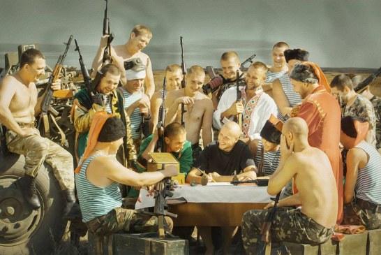 """Ukrayna askerlerinden ince mesaj, """"kazak mektubu"""" tablosu cephede canlandırıldı"""