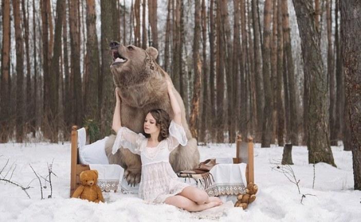 Bu kareler gerçek; avcılık karşıtı reklam için ayı ile kameraların karşısına geçtiler (galeri)