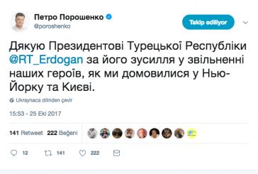 Poroşenko'dan Erdoğan'a teşekkür