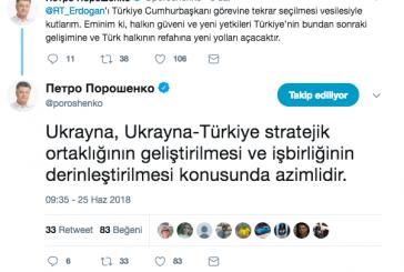 """Poroşenko'dan Erdoğan'a Türkçe  kutlama: 'Türkiye'nin kalkınması için yeni imkanlar sunacağına inanıyorum"""""""