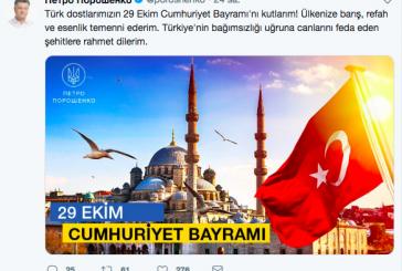 Devlet Başkanı Poroşenko'dan Cumhuriyet Bayramı mesajı, 'Ülkenize barış, refah ve esenlik temenni ederim'