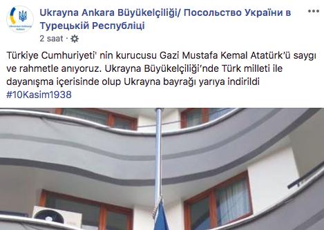 Ukrayna Büyükelçiliği'nden 10 Kasım jesti, 'bayrak yarıya indirildi'