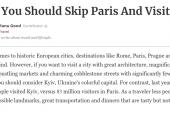 Forbes Dergisi'nde Ukrayna makalesi, 'Paris'i geçin tatile Kiev'e gidin'