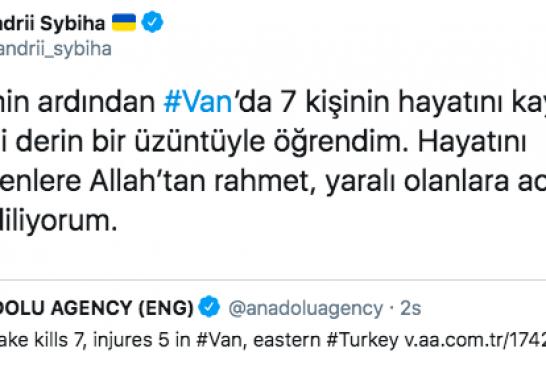 Van'daki depremin ardından Ukrayna'nın Ankara Büyükelçisi'nden taziye mesajı